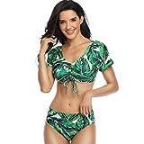 YANFANG Ropa de Bikini de Traje de baño Dividida con Volantes Impresos Sexy de Moda para Mujer de Color Verde Playa natación Surf Piscina
