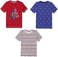 Real Basics Boys' Tshirt Pack of 3 Cotton, Regular Fit, Multicolour (Stripes RWB)