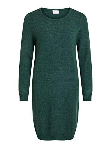 Vila Damen Viril L/S Knit Dress - Noos Kleid, Pine Grove, M EU