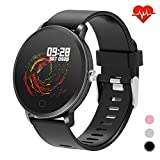 "moreFit 1.3"" Round Smart Watch with Heart Rate Blood Pressure Monitor,Fitness Tracker Watch Activity Tracker for Men, Waterproof Fitness Watch Sleep Monitor Step Counter Sport Watches for Women"