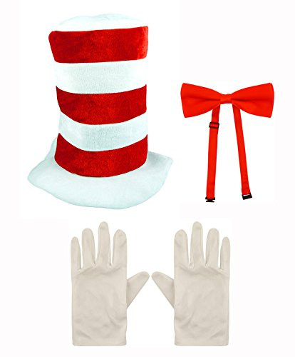 Child Cat in the Hat Bow Tie & Gloves Kit Fancy Dress World Book Day