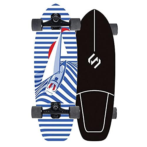YHNJI Skateboard Cruiser Completo 75CM Monopatín Patinetas Estándar Completas Surfskate para Niños Principiantes Adolescentes con Rodamientos ABEC-9 Cubierta de Madera de Arce 7 Capas Carga Máx 150kg