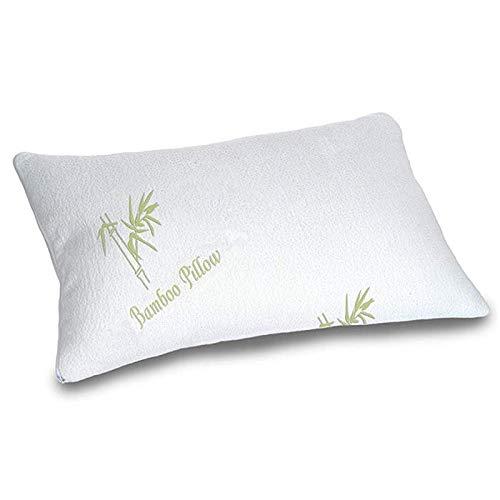 AMITRIS Almohada de espuma viscoelástica de bambú, 65 x 45 x 12 cm, cojín de loft ajustable, triturado, con funda extraíble y lavable, mejora significativa de la calidad del sueño, 2,2 kg