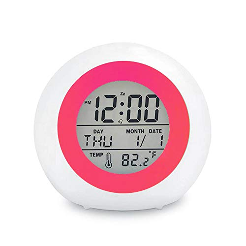 Product Image of the Kids Digital Alarm Clock, 7 Color Night Light, Snooze, Temperature Detect for...