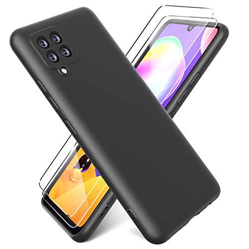 Oududianzi- Cover per Samsung Galaxy A42 5G Custodia Morbida in Silicone Liquido + [2 Pack Pellicola Protettiva Vetro Temperato ], Cover Tinta Unita Ultrasottile e Antiurto Gomma Case - Nero