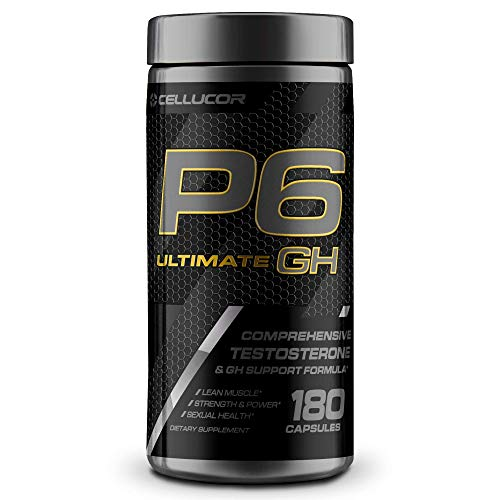 Cellucor P6 Ultimate GH Testosterone Booster for Men, Growth Hormone Support Pills for Protein Synthesis & Fat Metabolism, 180 Capsules
