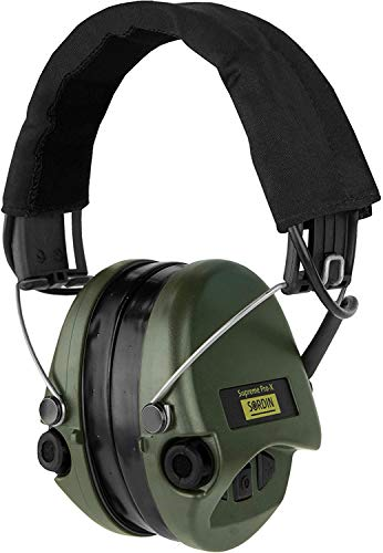 Sordin Supreme PRO X - Active Electronic Hearing Protection with Gel Seals - Black Headband and Green Cups