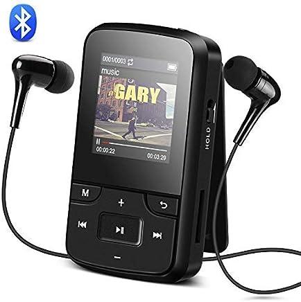 AGPTEK G6B Reproductor MP3 Bluetooth 8GB con Clip, Reproductor de Música Deportivo con Pantalla TFT de 1.5 Pulgadas, FM Radio, Auriculares, Banda del Brazo, Negro