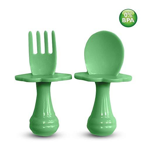 Cucchiaino per bambini - Forchetta per bambini - Cucchiaio e forchetta per bambini, multicolore, posate per incoraggiare il bambino a mangiare in modo indipendente, senza BPA. (1 Imposta, Verde)