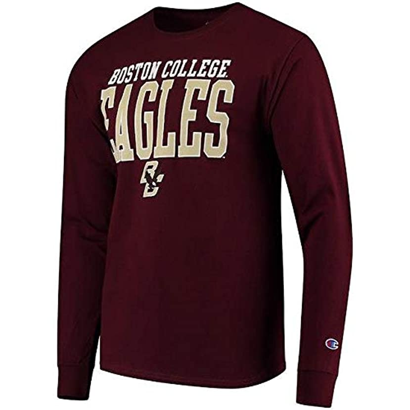遠え元気な苦しめるChampion Champion Boston College Eagles Maroon Stacked Logo Long Sleeve T-Shirt スポーツ用品 【並行輸入品】