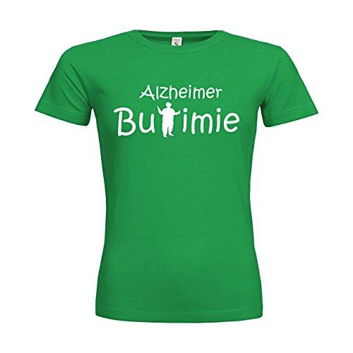 MDMA Frauen T-Shirt Classic Alzheimer Bulimie N14-mdma-ftc00351-286 Textil kellygreen / Motiv weiss / Gr. L