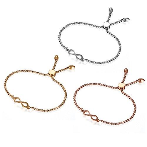 Flongo Armband Freundschaftsarmbänder BFF Ketten für 3, Edelstahl Armreif Armkette Geschwister Kette Silber Rose Gold Infinity Unendlichkeit Zeichen Symbol