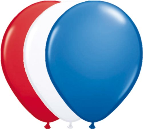 12 Luftballons * Rot Weiss Blau * für Amerika / USA / Frankreich / Holland - Party // 94cm Umfang // Luftballon Ballons Stars Stripes US Deko Länderparty