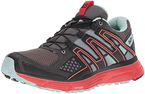 Salomon X-Mission 3 W, Zapatillas de Trail Running para Mujer, Gris/Rojo (Magnet/Black/Poppy Red), 40 2/3 EU