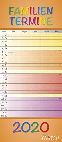 Regenbogen 2020 A&I Familienplaner - 19,5x45cm - Wandkalender - Terminplaner