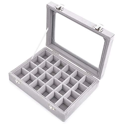 Ivosmart 24 Section Velvet Glass Jewelry Ring Display Organiser Box Tray Holder Earrings Storage Case (Grey)