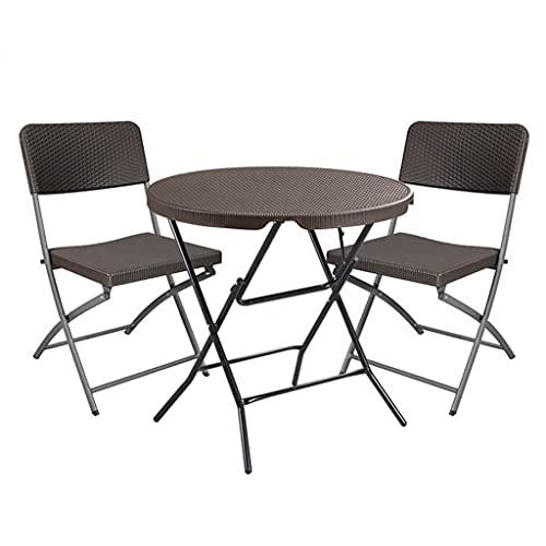 Outdoor Camping tragbarer Tisch und Stuhl, Gartenterrasse Freizeit Tisch und Stuhl Set, Rattan Klapp Esstisch und Stuhl, platzsparend, einfach zu klappen, Sonnen- und regensicher