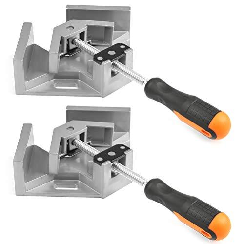 QLOUNI 2 Stück rechtwinklige Klemme, 90 ° Winkelspanner, Schweißen Eckenspanner, Rechtwinklige Eckschraubstock, verstellbarer Winkelzwinge für Holzbearbeitung