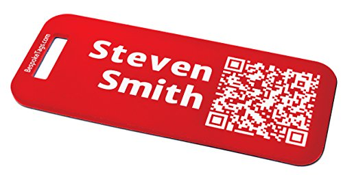 Custom Metal Luggage Tag - Customized Engraved Info & QR Code (Small, Red)