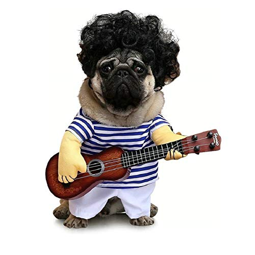 Vevins Pet Cowboy Costume Rocker Guitar Clothes for Small Dog Puppy Cat Halloween Party Christmas...