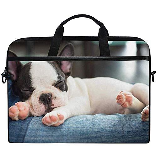 D.T.G Laptop Case Funda para Computadora Portátil,Bulldog Francés Animal Cute Briefcase Messenger Bolsa para Computadora Portátil con Asa para La Correa para El Hombro,14-14.5 Pulgadas