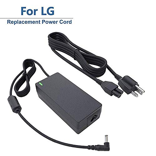 "for LG 19V LED LCD Monitor Widescreen HDTV Power Cord Replacement Charger Adapter for 19"" 20"" 22"" 23"" 24"" 27"" Power Supply, 19V, AC, DC, 8.5Ft."