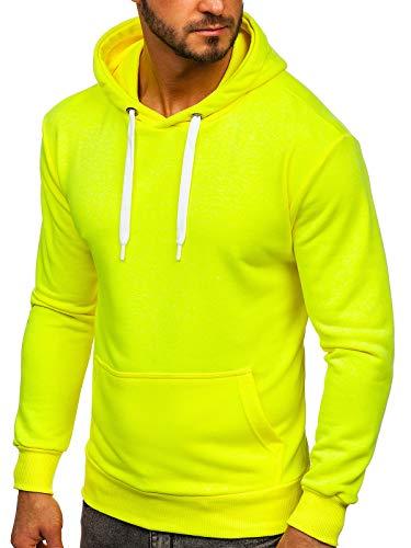 BOLF Herren Kapuzenpullover Sweatjacke Hoodie Sweatshirt mit Kapuze Reißverschluss Farbvarianten Kapuzenpulli Freizeit Training Gym Fitness Unisex 1004 Gelb-Neon L [1A1]