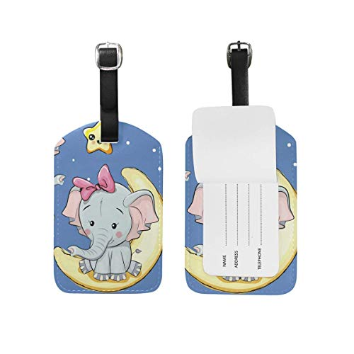 shenguang 2PCS Leather Black Cute Cat Luggage Tags Travel Baggage Labels Bag Tag