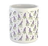 N\A Lavanda Tazza, Motivo della Natura con Delicato Lavanda Rami freschi organici Piante Herb, Tazza di Ceramica Tazza di caffè per l'acqua beve Il tè, 11 oz, Verde