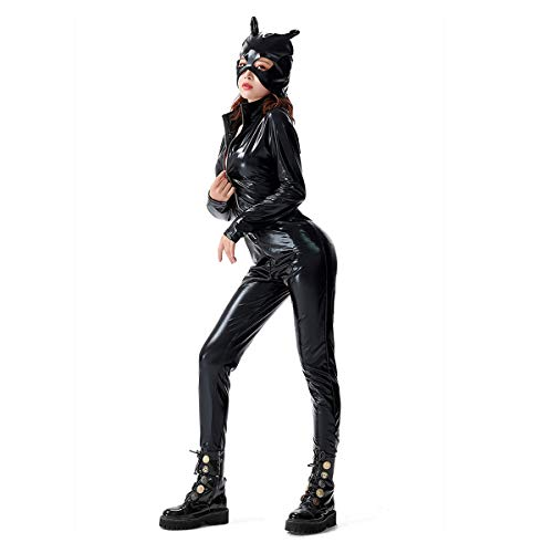 Catsuit für Damen, sexy, PVC-Kunstleder, Catfight-Kostüm, Jumpsuit, komplettes Outfit, Leder, Schwarz , XXX-Large