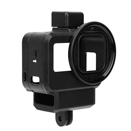 Bindpo Caja de cámara para Gopro Hero 8, Carcasa Protectora, Marco de vlogging con Cubierta de Lente de 52 mm y Soporte de Zapata fría para micrófono, luz de fotografía