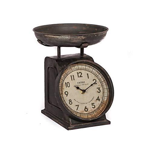L'Héritier Du Temps toonhorloge, antieke stijl, reproductie van een weegschaal, om neer te zetten, ijzer, gepatineerd, 21 x 24 x 27 cm, bruin