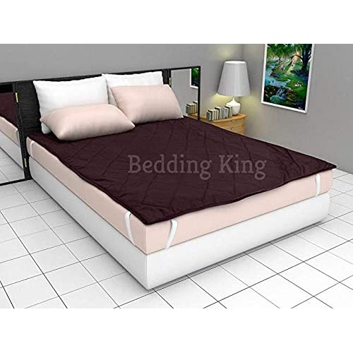 Bedding King Waterproof Microfiber Double Bed Mattress Protector (72X78 inhes, Brown)