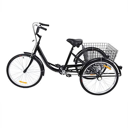 MuGuang 24 Zoll 3 Rad Single Speed Dreirad Trike Bike Radfahren mit Einkaufskorb für Erwachsene und Senioren(schwarz)
