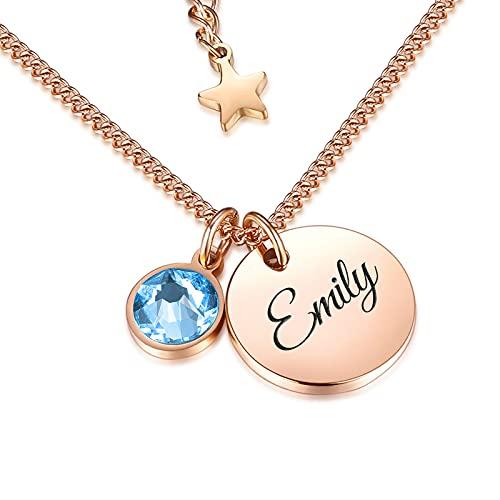 TMT Personalisierte Namenskette mit Gravur und Kristall Buchstaben initialen (silber & rose-gold) Geburtstagsgeschenk für Frauen und Mädchen Geschenk Kette Mutter Oma BFF Bridesmaid