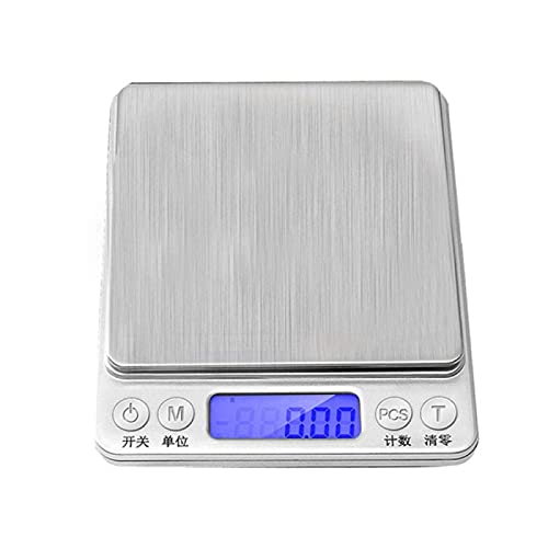 Báscula de cocina para alimentos Báscula electrónica para el hogar I2000 Báscula electrónica de carga USB Báscula de bolsillo de acero inoxidable Báscula de joyería en inglés Carga USB 2Kg / 0.1G