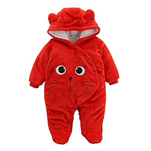 Proumy ◕ˇ∀ˇ◕ Baby Kleidung Jungen Mädchen Winter Fleece Overall Mit Kapuze Mädchen Jungen Schneeanzüge Warm Strampler Outfits 0-12 Monate (rot,0-3Months)