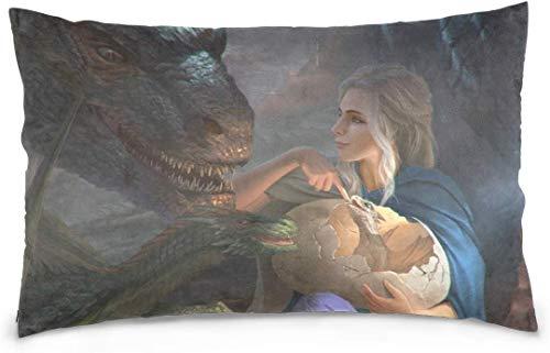 ingshihuainingxiancijies Khalessi con Sus Dragones Funda de Almohada Decorativa de 50,8 x 76,2 cm para decoración del hogar