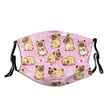 Cartoon Beige Puppies Pugs Cloth Face Mask With Filter Pocket Washable Face Bandanas Balaclava Pollen-Proof Print Reusable Fabric Mask With 2 Pcs Filters