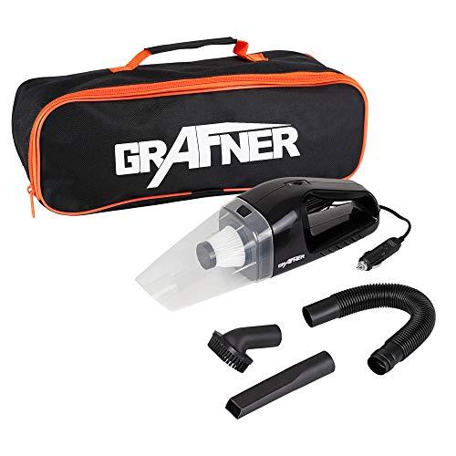 Grafner 12 Volt Auto Staubsauger für den Zigarettenanzünder, Nass & Trocken, 100 Watt, beutellos mit HEPA-Filter, 2500 PA Starke Saugkraft, inkl. 2 Fugendüse, Polsterdüse, flexiblem Schlauch, Tasche