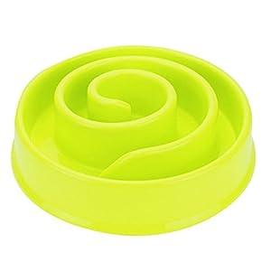 JuneJour Gamelle Bol d'Alimentation Anti Glouton pour Chien Spirale Epaississement Plastique