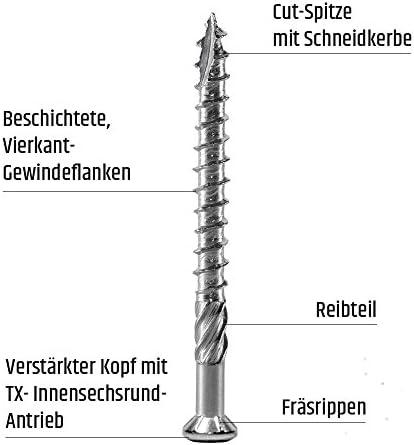 Wera Edelstahl Bit Terrassenschrauben 5x60 T-INOX 500 St/ück Edelstahl geh/ärtet C1 Torx 25 inkl