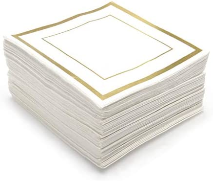 GLAM Cocktail Napkins Gold Trim, 100 Pack - 5x5 Wedding Napkins, Paper - White And Gold Napkins, Disposable