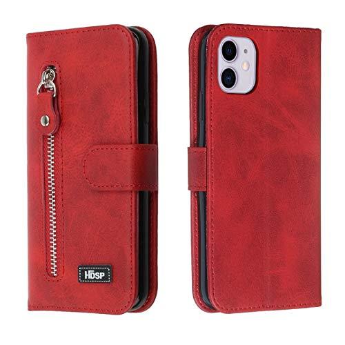 ZHANGHUI Funda protectora para iPhone 11 Funda de piel Pro Max Zipper Rebaltación Horizontal con cartera y Holder & Ranura para tarjetas (Negro) (Color : Negro)