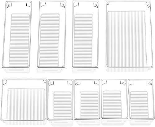 InnoGear Set von 9 Schreibtisch-Schubladen-Organizer-Ablagen mit 4 Größen durchsichtigen Kunststoff-Aufbewahrungsboxen Trennwand Make-up-Organizer für Küche Schlafzimmer Büro (transparent)