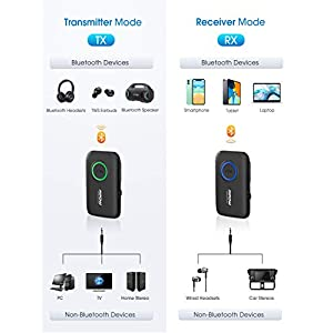 Bluetooth 5.0 Transmitter and Receiver with Low Latency, Dual Link, CVC 8.0 Noise-Cancelling, Bluetooth Transmitter for TV/Home Sound System