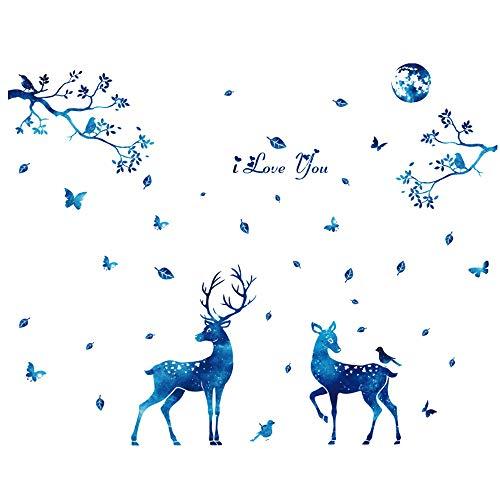 YANGMAN-ART Wall Deer Sticker DIY Arbre Amovible Papiers Peints PVC Easy Peel décalque de Vinyle pour Le Salon Fenêtre familiale Chambre Décoration d'intérieur, 61x56 Pouces