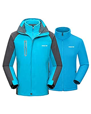 YOMEGO Detachable Hooded Ski Jacket 3 in 1 Warm Fleece Inner Snow Coat for Boys and Girls - Good for Hiking, Skiing, Traveling,Camping (Light Blue, 10/12)