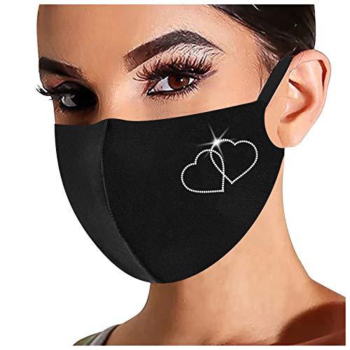 Rhinestone Shiny Face_Mask Washable for Women, Breathable Cloth Fabric_Masks Reusable, 1Pc, 0220, 78