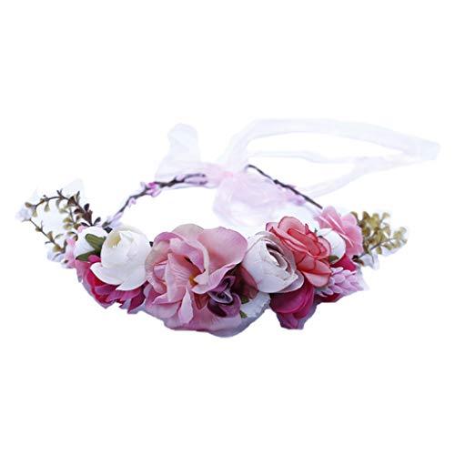 GREEN&RARE Diadema ajustable hecha a mano, corona de flores de simulación, corona de flores, halo nupcial boda floral guirnalda de pelo bohemio festival fiesta playa